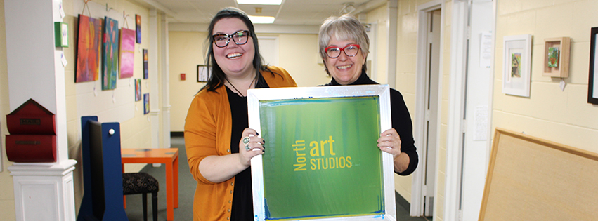Artists Jaci Musec and Barbie Perry inside North Art Studios
