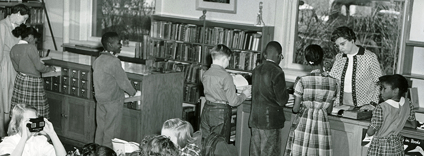 Inside the children's room at the downtown Peoria Public Library, 1960