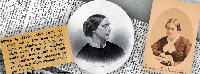 Article clippings and portraits of Susan B. Anthony