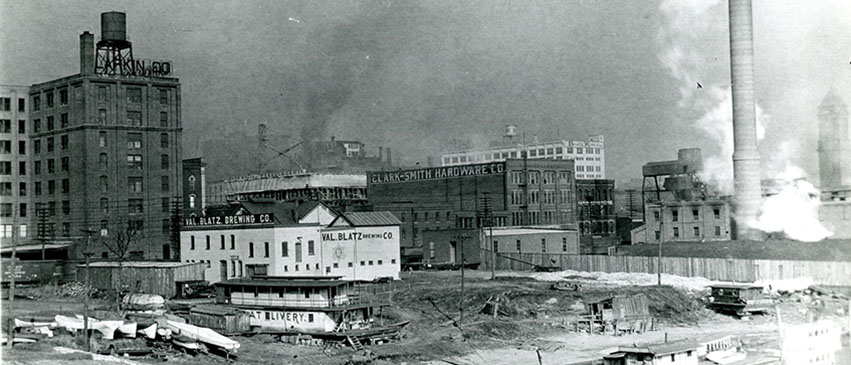 Shanties dotted Peoria's riverfront at the turn of the century.