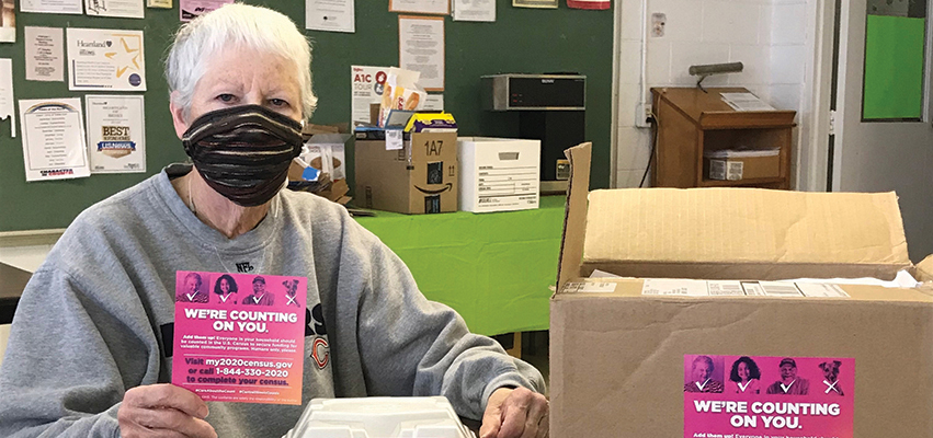 A volunteer from MSW Projects, a not-for-profit charitable organization that provides a senior citizen nutrition program, outreach program and public transportation in Marshall and Stark counties.
