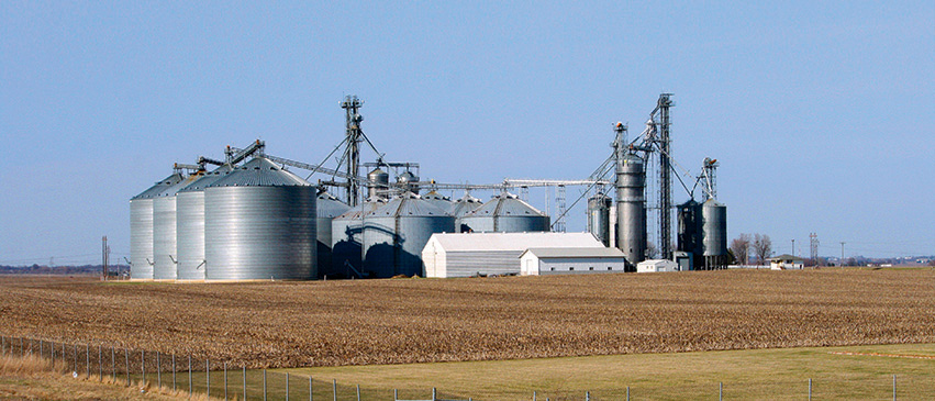 Tremont Co-Operative Grain Co. offers a combined storage capacity of 16 million bushels of grain at four facilities, including this grain elevator near I-155.