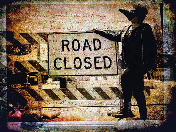 "The multiple layers of ""Road Closure"" ask the viewer to consider the collective weariness over peaceful protests that continue to leave Black voices unheard."