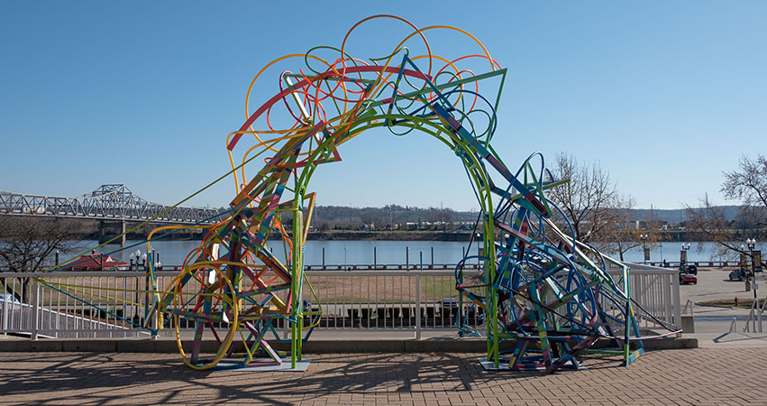 "Commissioned by Easterseals Central Illinois, Brammeier's ""Easterseals Rainbow"" stands tall outside the Peoria Riverfront Museum."
