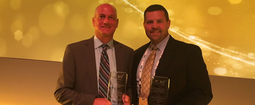 Children's Home CEO Matt George with Jeff Zircher at the 2016 PMI Professional Awards.  The Community Advancement Through Project Management Award was presented to  Caterpillar and Children's Home by the Project Management Institute's Education Foundation.