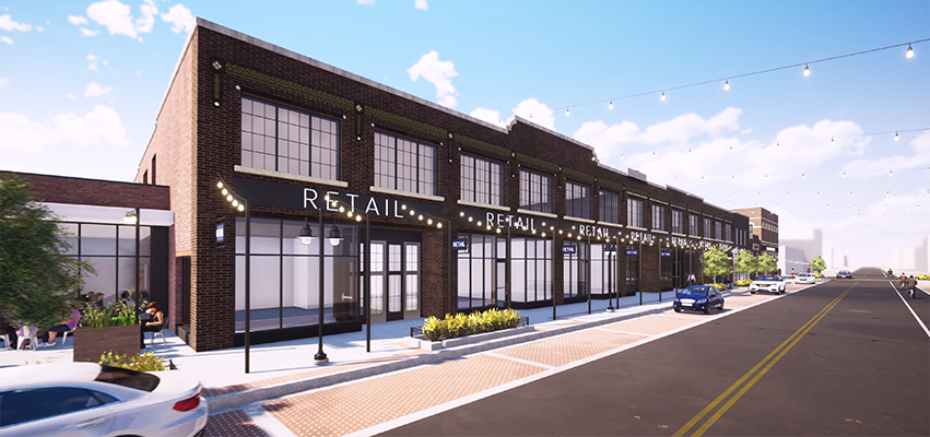 A rendering of the new Adams and Oak storefronts