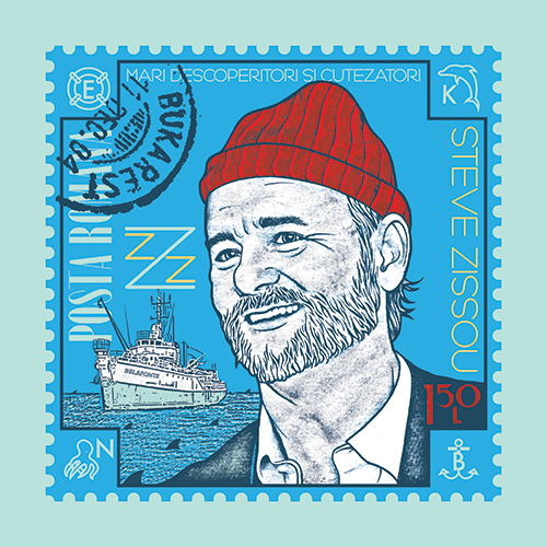 "Berkley's most popular print, ""Can You Hear the Jack Whales Singing?"", depicts actor Bill Murray as the title character from The Life Aquatic with Steve Zissou."