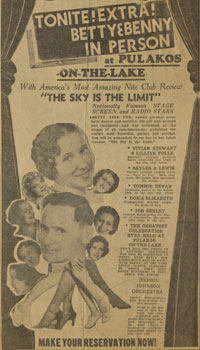 "Newspaper ad for a performance by ""Sky Dancers"" Betty and Benny Fox, who took Betty Jayne Brimmer on the road with them."