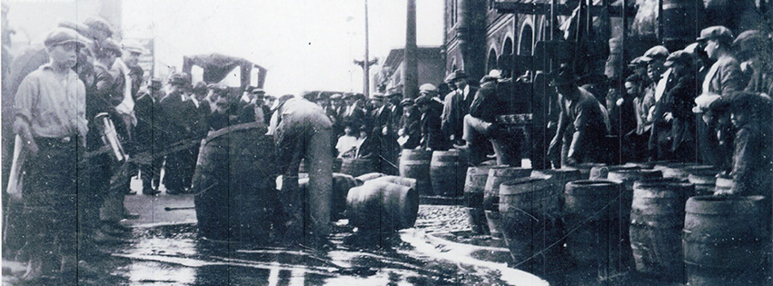 At the onset of Prohibition in 1920, saloons were closed and whiskey barrels were dumped into the sewers