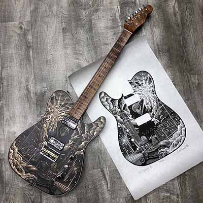 "Alex Carmona's collaboration with Fender created the world's first hand-carved ""Woodcut Telecaster."""