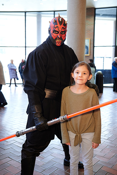 A cosplayer dressed up as Darth Maul from Star Wars