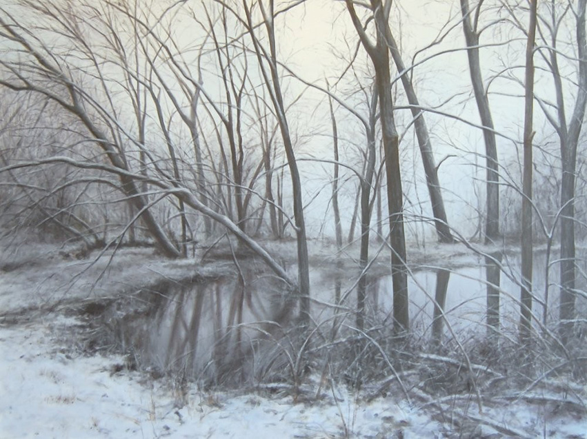 "Winter Walking #1: Flood, 36""x48"", oil on canvas, 2017"