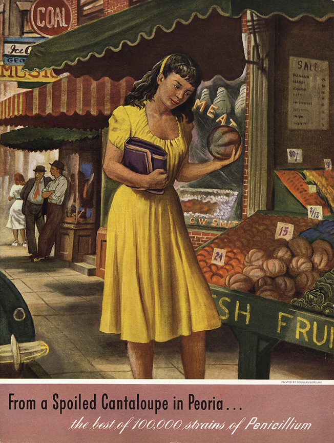 "This 1948 painting by Douglas Gorsline depicts ""Moldy Mary"" finding the infamous cantaloupe in a Peoria market"