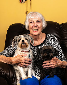 Lois Smith with her dogs, Cally & Bella