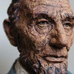 A ceramic sculpture by Marlene Miller of Washington, Illinois, offers a rich, textured portrayal of President Abraham Lincoln. Miller, a long-time art instructor at Illinois Central College, is internationally known for her figurative ceramic work.