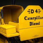 "Caterpillar's first diesel engine, ""Old Betsy,"" made in 1930, on loan from the Smithsonian Institution"