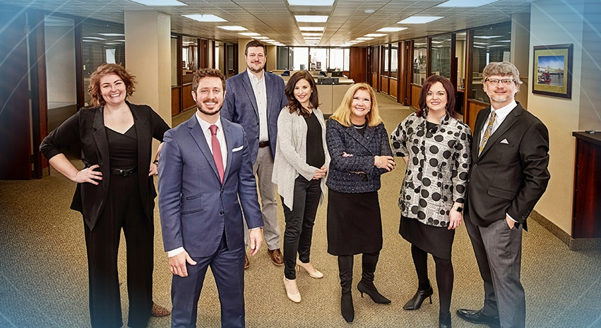 L-R: Elle Benway, J.D. Dalfonso and Joshua Albrecht of Discover Peoria; Jenn Gordon of ArtsPartners; Jan Wright, Mae Gilliland Wright and Jonathan Wright of Peoria Magazines