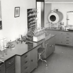 "Inside Peoria's ""Ag Lab,"" December 1944. The mass production of penicillin was pioneered in Peoria at the USDA Research Laboratory, aided by the discovery of a particular type of mold found on a melon purchased at a local grocery market."