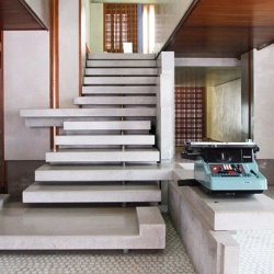 This iconic staircase, designed by Carlo Scarpa, is a focal point of the Olivetti Showroom in Venice, Italy.