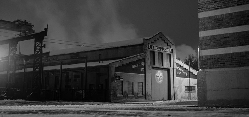 A. Lucas & Sons: A. Lucas & Sons Steel, Peoria, on a winter night. Equipment: Kodak Medalist II camera, Ilford HP5+ film, 400 ISO