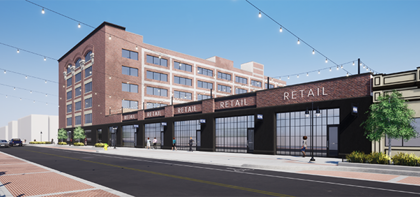 A rendering of the Adams and Oak project on the 800 block of SW Adams which will have an entirely new retail section in Peoria's Warehouse District.
