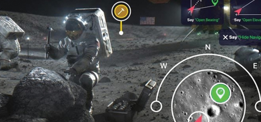 Rendering of astronaut collecting moon samples