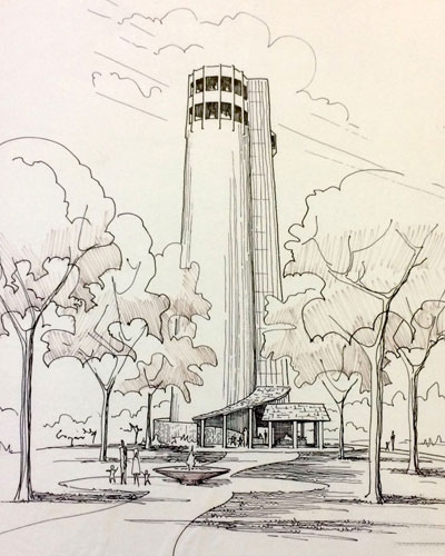 Richard L. Doyle's original sketch of Tower Park in Peoria Heights
